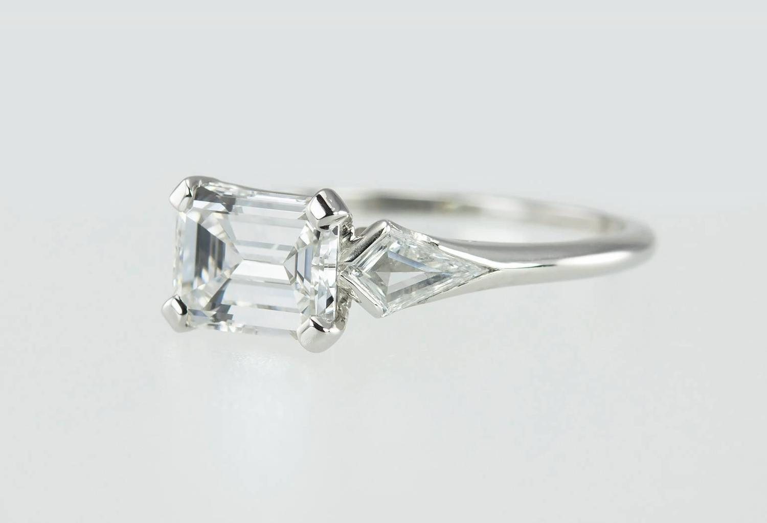 1950s emerald cut 1 32 carat platinum engagement