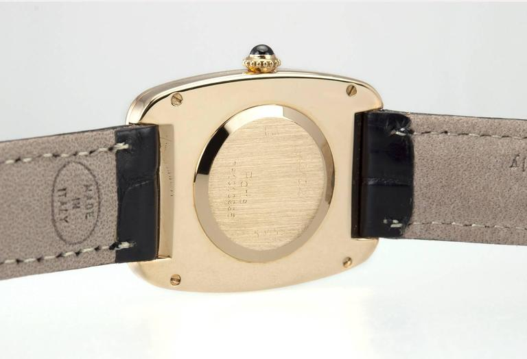 Cartier Yellow Gold Square Incurvee Wristwatch For Sale 2