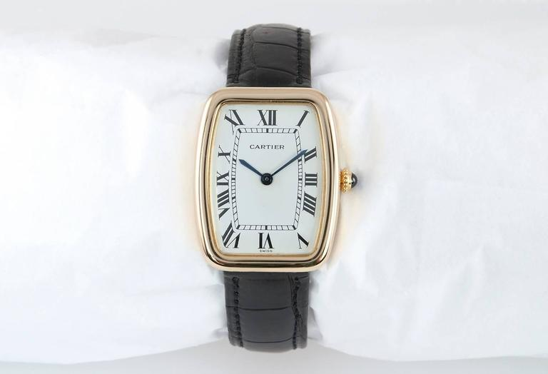 Cartier Yellow Gold Square Incurvee Wristwatch For Sale 1