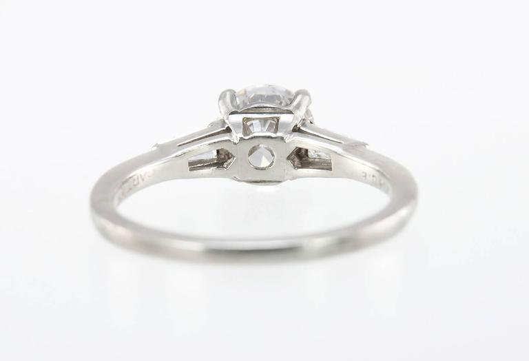 Women's Cartier 1 Carat Round Brilliant Diamond Platinum Engagement Ring For Sale