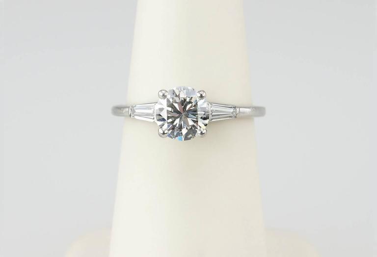 Cartier 1 Carat Round Brilliant Diamond Platinum Engagement Ring For Sale 2