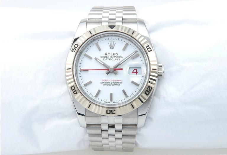 Rolex Stainless Steel DateJust Turn-O-Graph White Gold Bezel 4