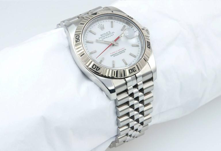 Rolex Stainless Steel DateJust Turn-O-Graph White Gold Bezel 3