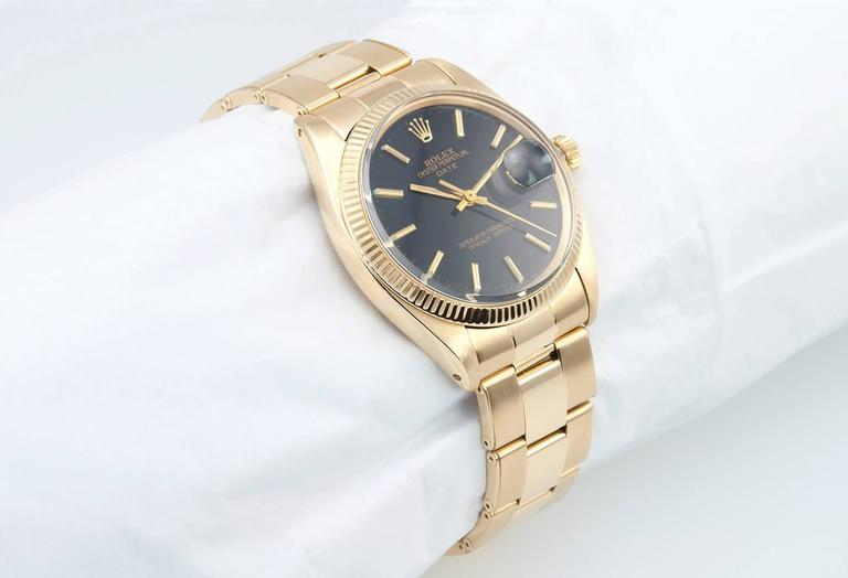 Rolex Yellow Gold Date Custom Black Dial Wristwatch Ref 1503    3