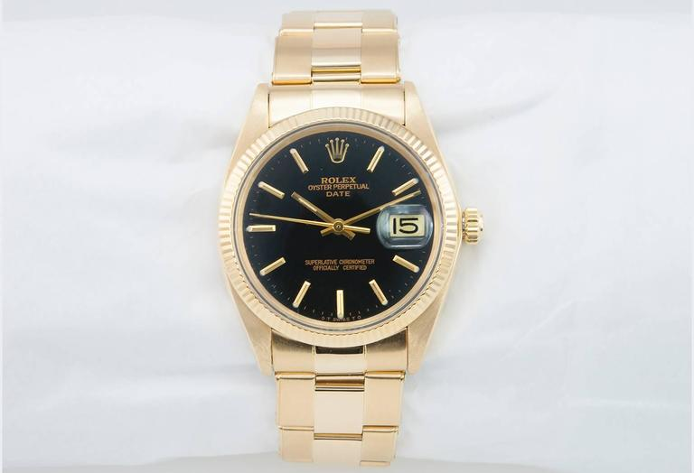 Rolex Yellow Gold Date Custom Black Dial Wristwatch Ref 1503    4