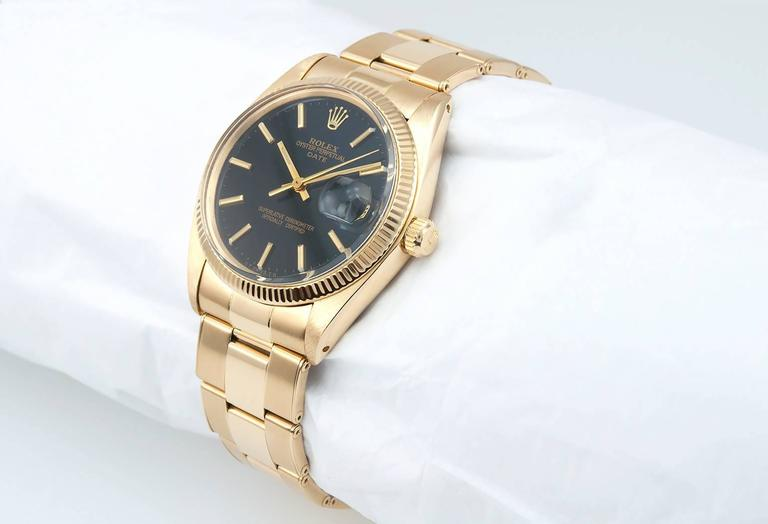 Rolex Yellow Gold Date Custom Black Dial Wristwatch Ref 1503    2