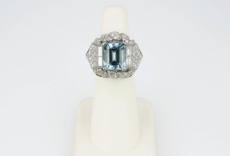 1960s Aquamarine Diamond Platinum Ring For Sale 1