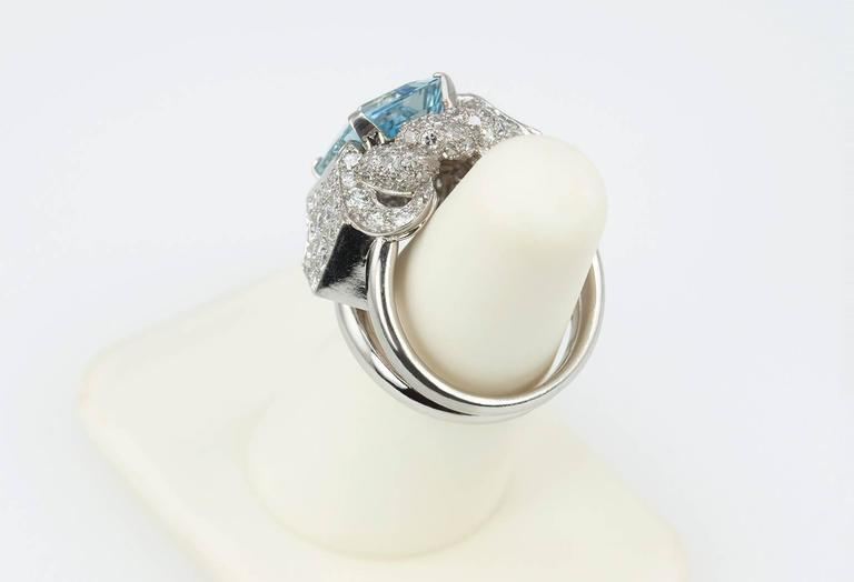 1960s Aquamarine Diamond Platinum Ring For Sale 3