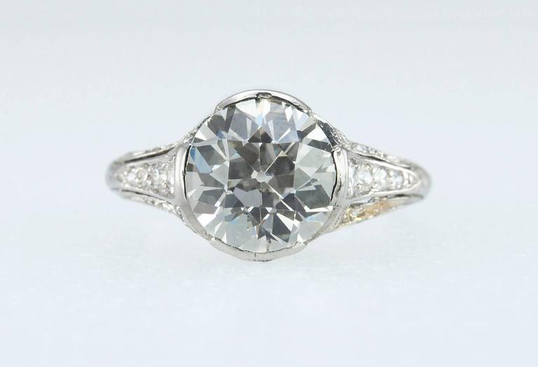Edwardian 2.20 Carat Old European Cut Diamond Engagement Ring 2