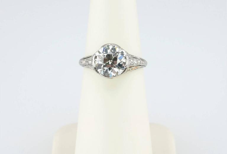 Edwardian 2.20 Carat Old European Cut Diamond Engagement Ring 7