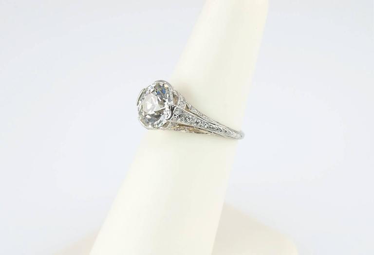 Edwardian 2.20 Carat Old European Cut Diamond Engagement Ring 8