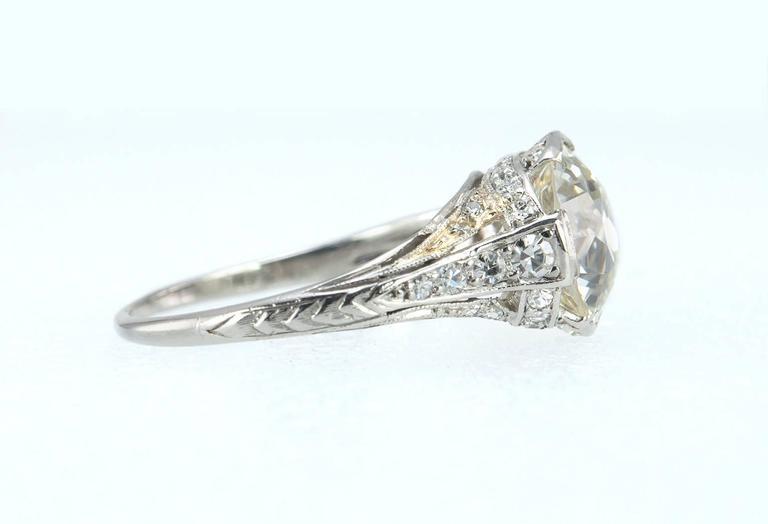 Edwardian 2.20 Carat Old European Cut Diamond Engagement Ring 4