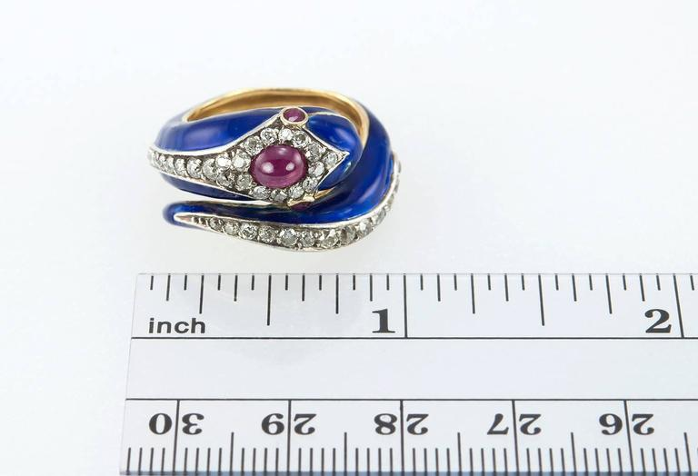 Enamel Snake Ring with Diamonds and Rubies  For Sale 6