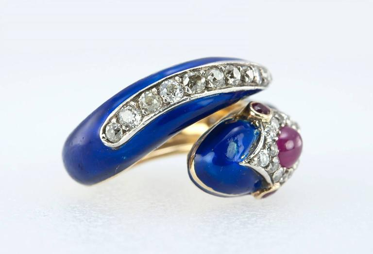 Enamel Snake Ring with Diamonds and Rubies  For Sale 2