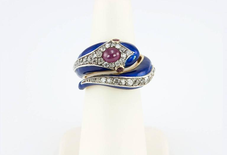 Enamel Snake Ring with Diamonds and Rubies  For Sale 4