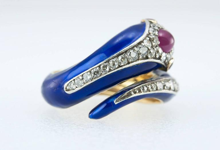 Women's Enamel Snake Ring with Diamonds and Rubies  For Sale