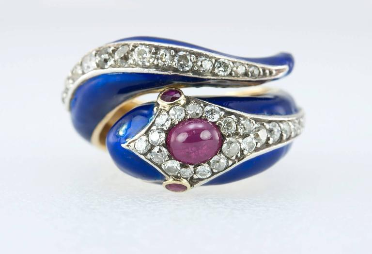 Enamel Snake Ring with Diamonds and Rubies  In Good Condition For Sale In Los Angeles, CA