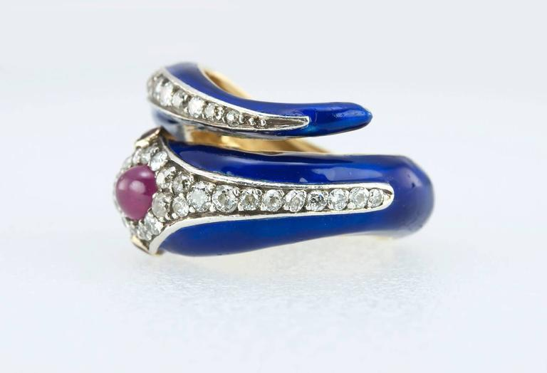 Enamel Snake Ring with Diamonds and Rubies  For Sale 1