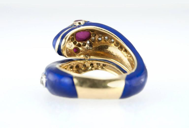 Enamel Snake Ring with Diamonds and Rubies  For Sale 3