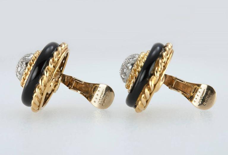 Van Cleef and Aprels Diamond, Onyx, Gold Clip-On Earrings For Sale 3