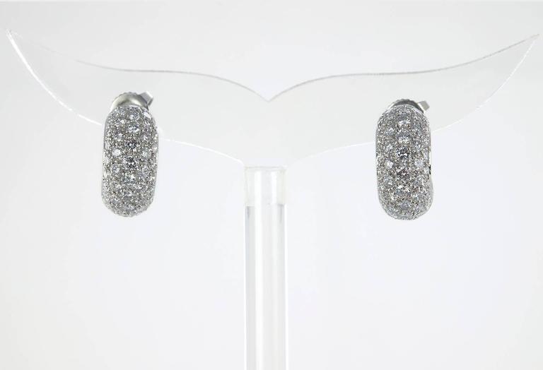 Tiffany & Co. Diamond Platinum Hoop Earrings  For Sale 1
