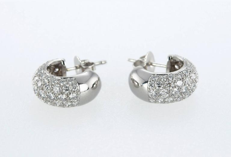 Tiffany & Co. Diamond Platinum Hoop Earrings  In Excellent Condition For Sale In Los Angeles, CA