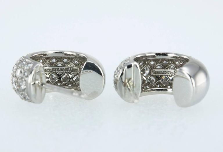 Women's Tiffany & Co. Diamond Platinum Hoop Earrings  For Sale