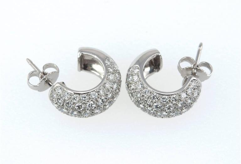 Super Sparkly Tiffany Co Diamond And Platinum Hoop Earrings These Have 104