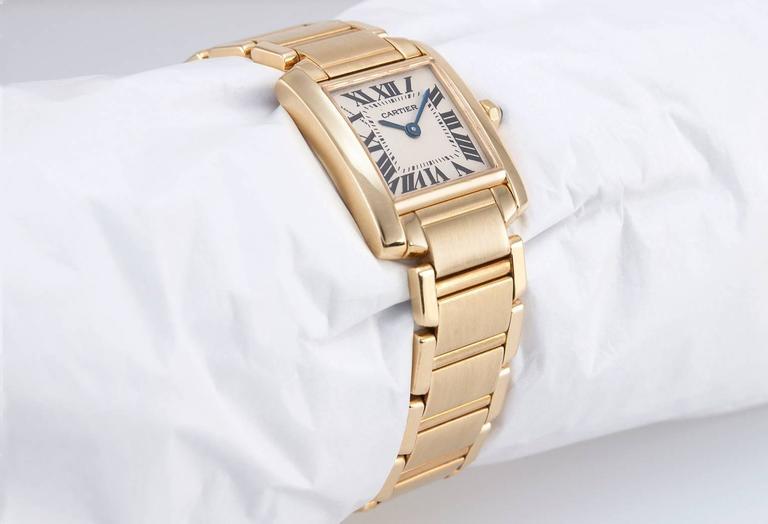 Cartier Ladies Yellow Gold Tank Française Quartz Wristwatch In Excellent Condition In Los Angeles, CA