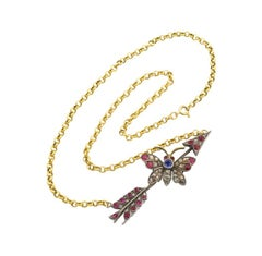 Butterfly Arrow Pendant with Diamonds Sapphire Rubies