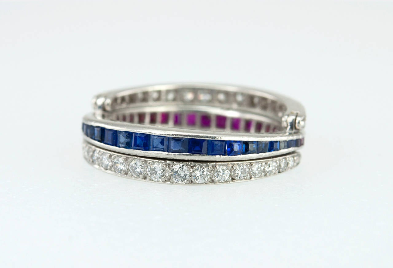 deco ruby sapphire platinum flip ring at 1stdibs