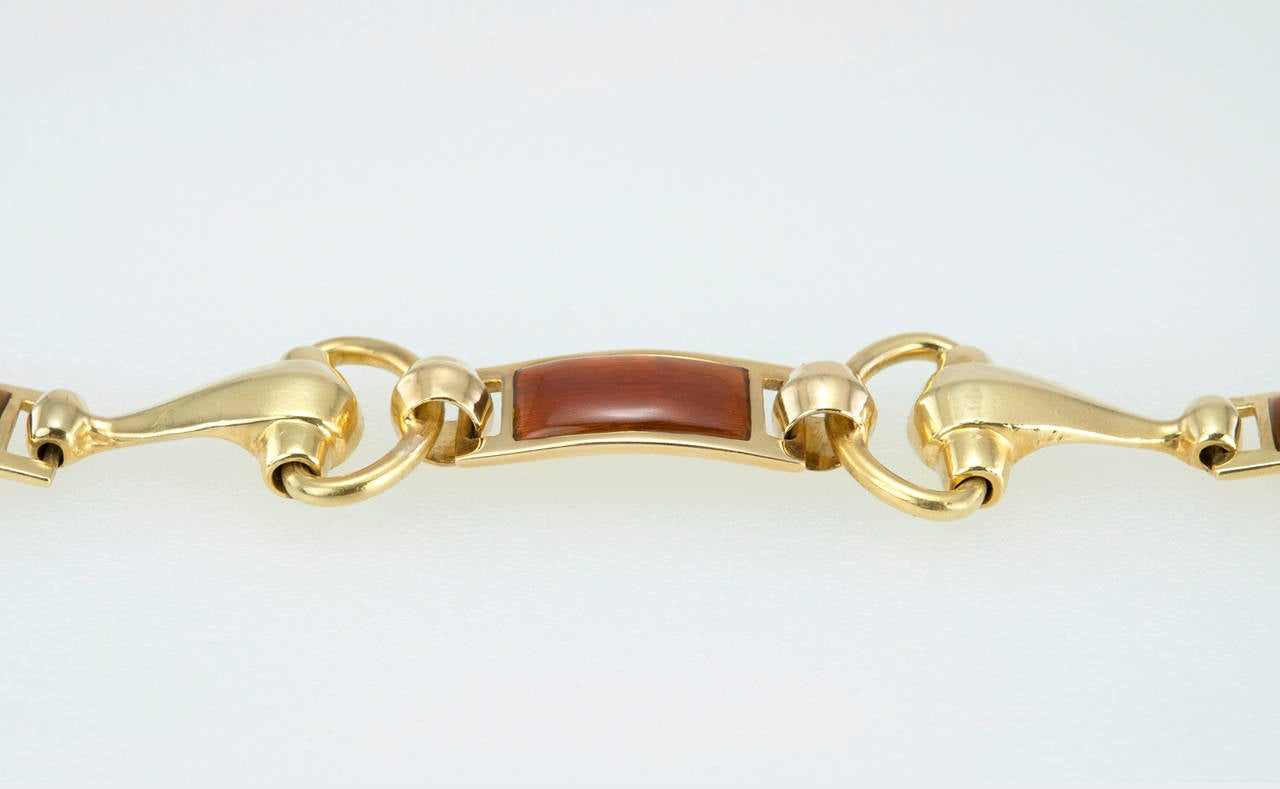 Gucci Brown Enamel Gold Horsebit Bracelet 3