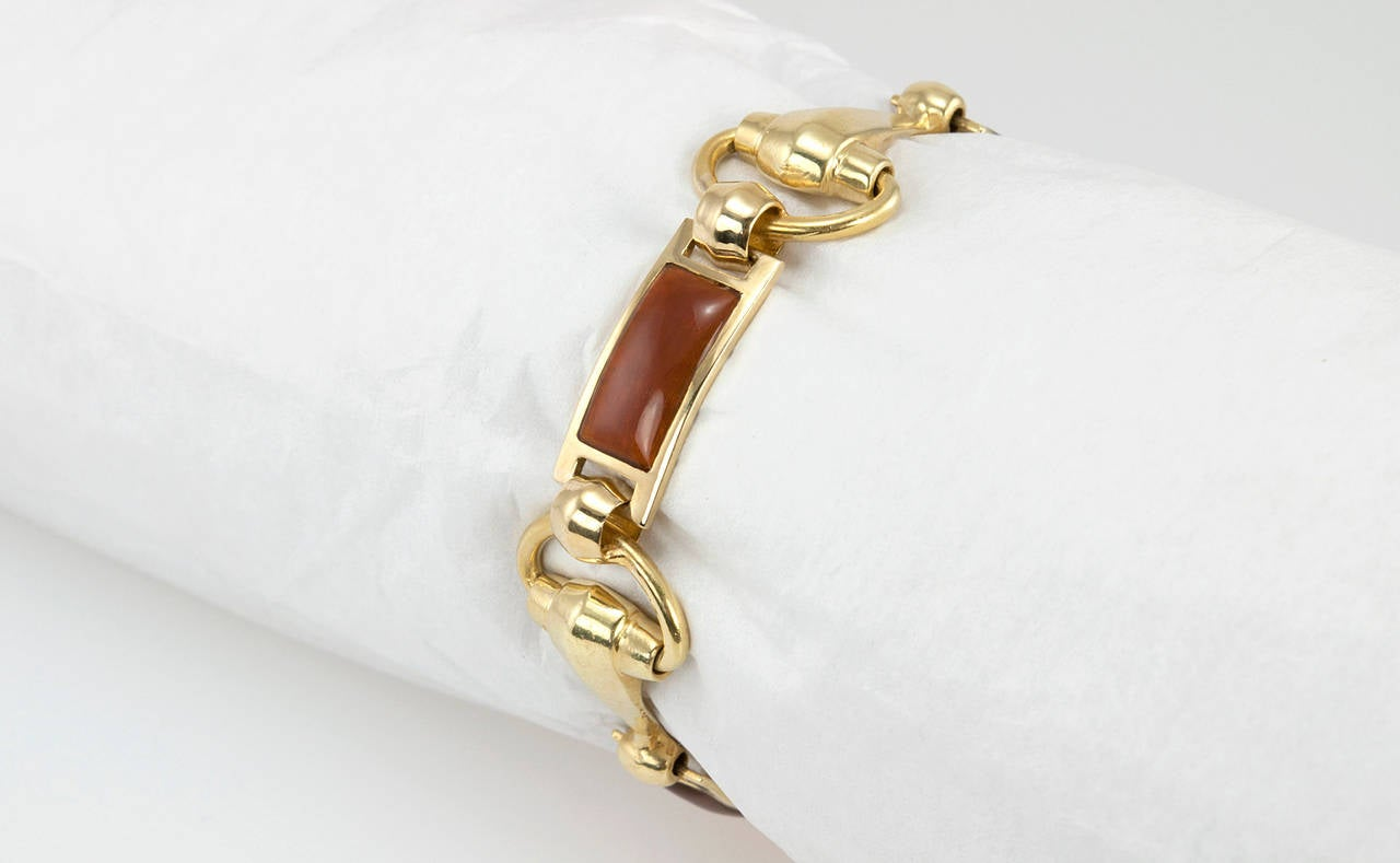 Gucci Brown Enamel Gold Horsebit Bracelet 4