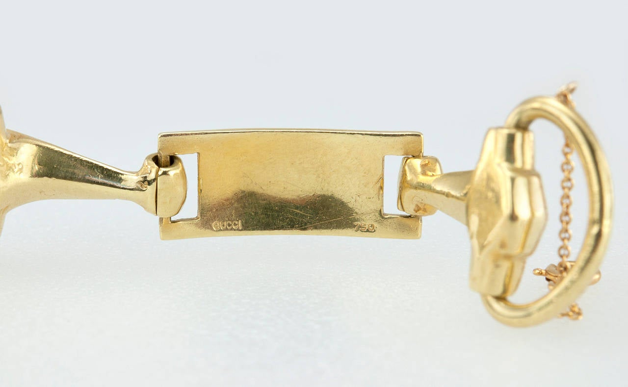 Gucci Brown Enamel Gold Horsebit Bracelet 6