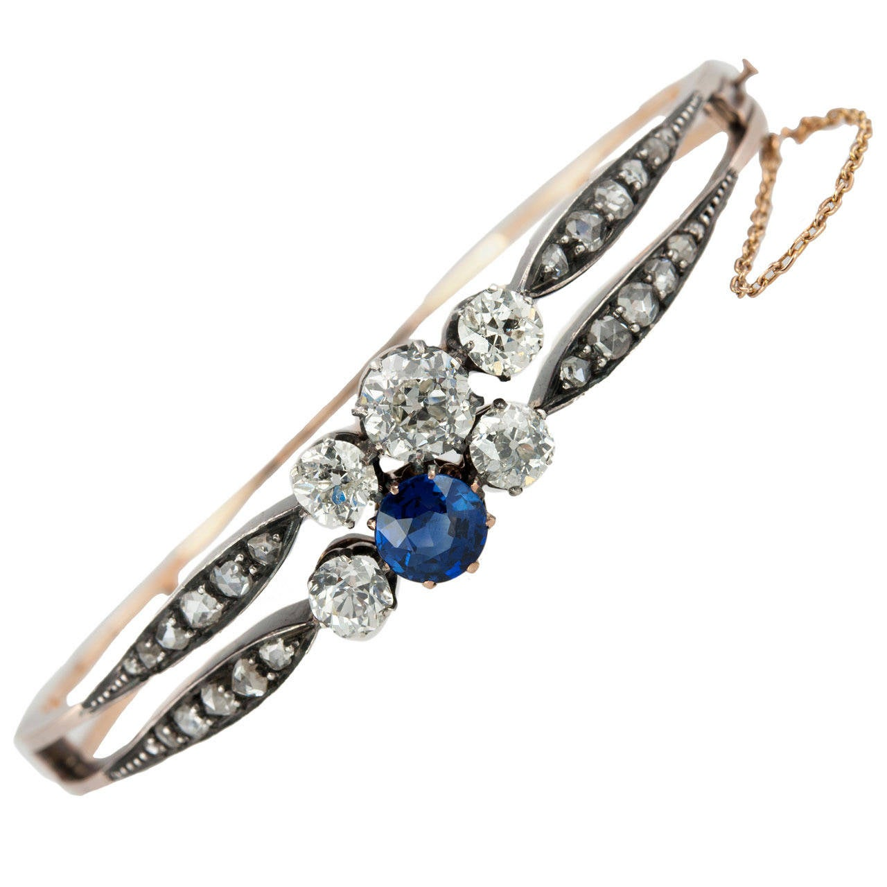 Victorian Diamond and GIA Cert Natural Sapphire Bangle Bracelet