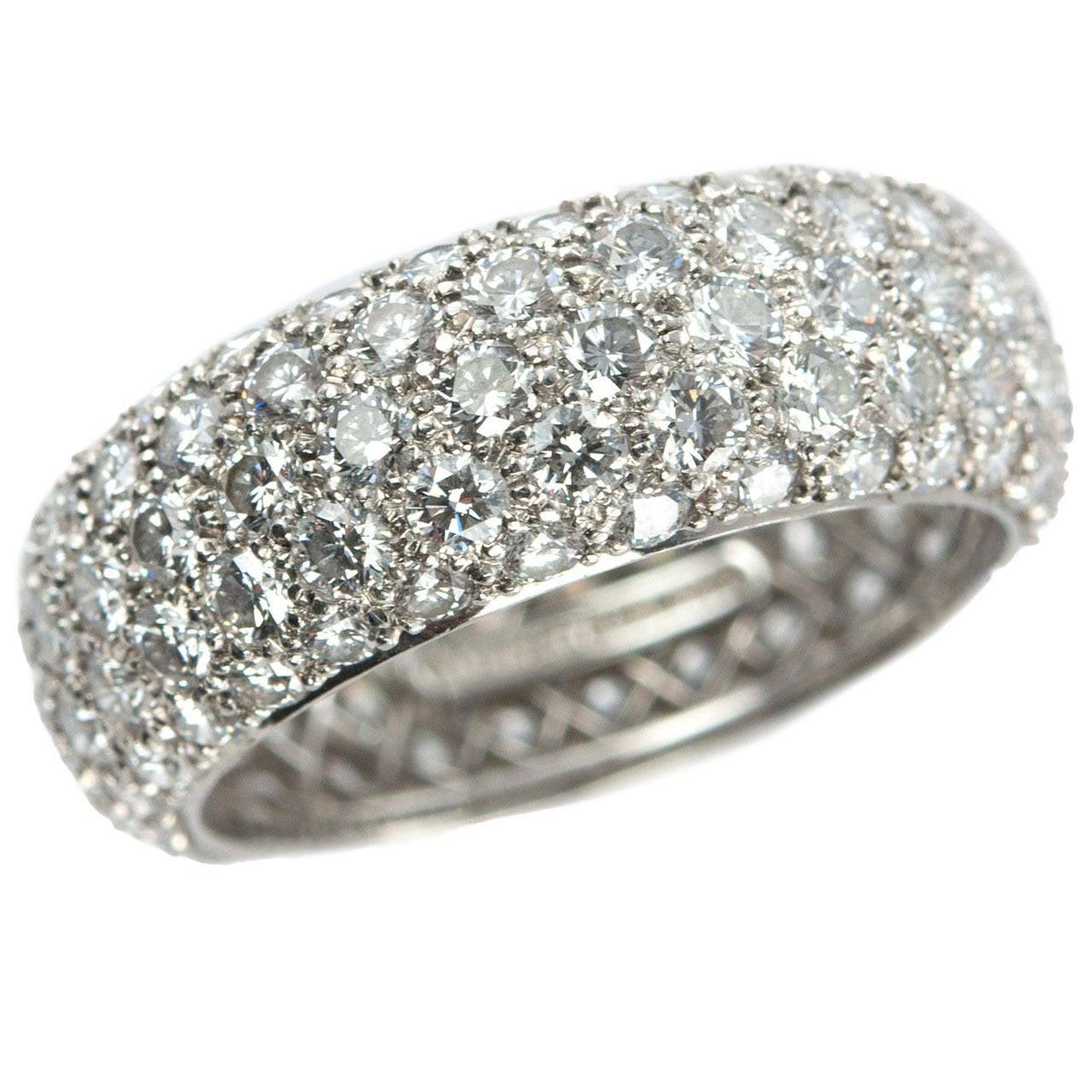 Tiffany Etoile Five Row Diamond Platinum Band Ring At 1stdibs