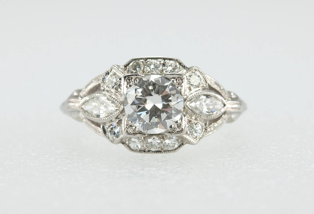 1930s Art Deco 058 Carat Diamond Platinum Engagement Ring 3