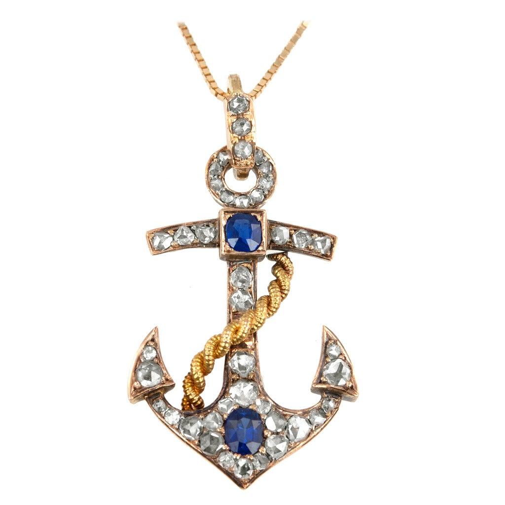 Victorian sapphire diamond gold anchor pendant at 1stdibs victorian sapphire diamond gold anchor pendant for sale aloadofball Gallery