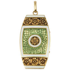 Gorgeous Apple Green Enamel Locket