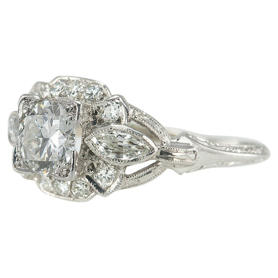 1930s Art Deco 058 Carat Diamond Platinum Engagement Ring 1