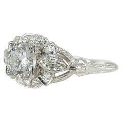 1930s Art Deco 0.58 Carat Diamond Platinum Engagement Ring