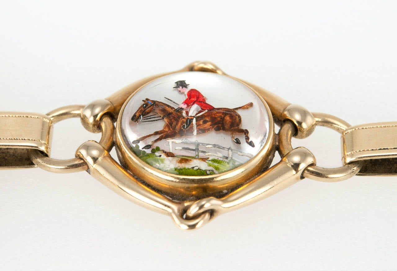 Victorian Equestrian Reverse Crystal Intaglio Gold Bracelet 4