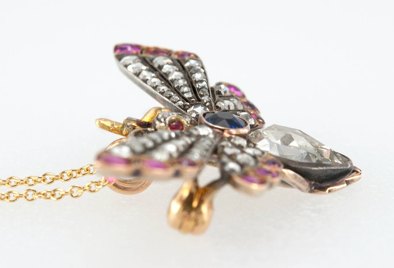 Victorian Ruby Sapphire Diamond Silver Gold Butterfly Necklace 7