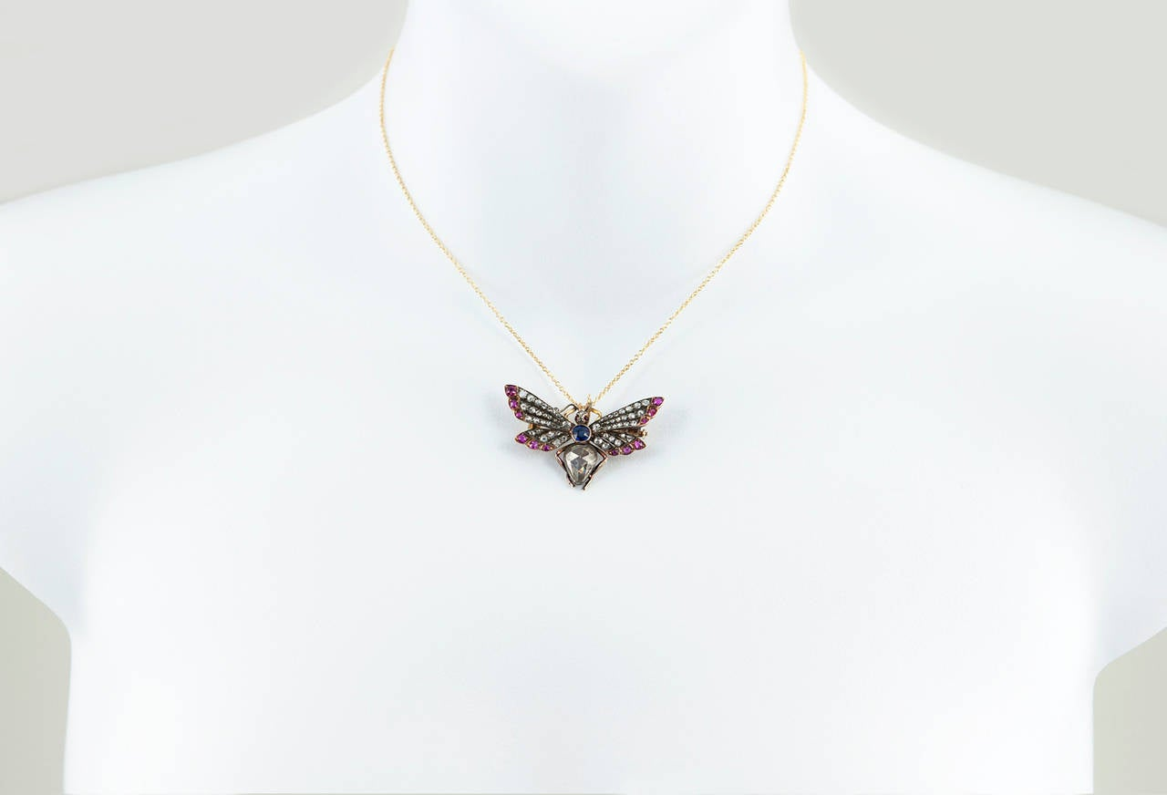 Victorian Ruby Sapphire Diamond Silver Gold Butterfly Necklace 5