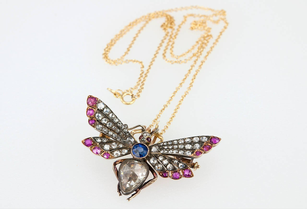 Victorian Ruby Sapphire Diamond Silver Gold Butterfly Necklace 3