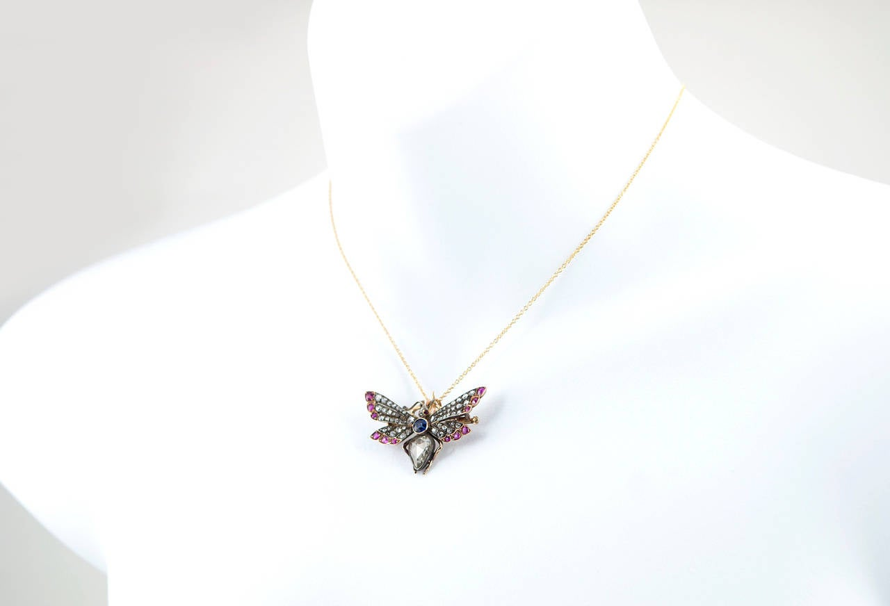 Victorian Ruby Sapphire Diamond Silver Gold Butterfly Necklace 6