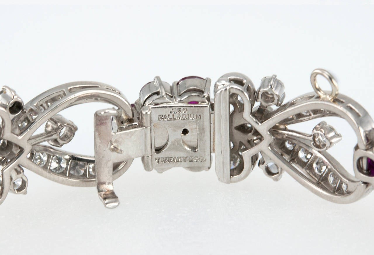 1940s Tiffany & Co. Ruby Diamond Palladium Floral Bracelet 9