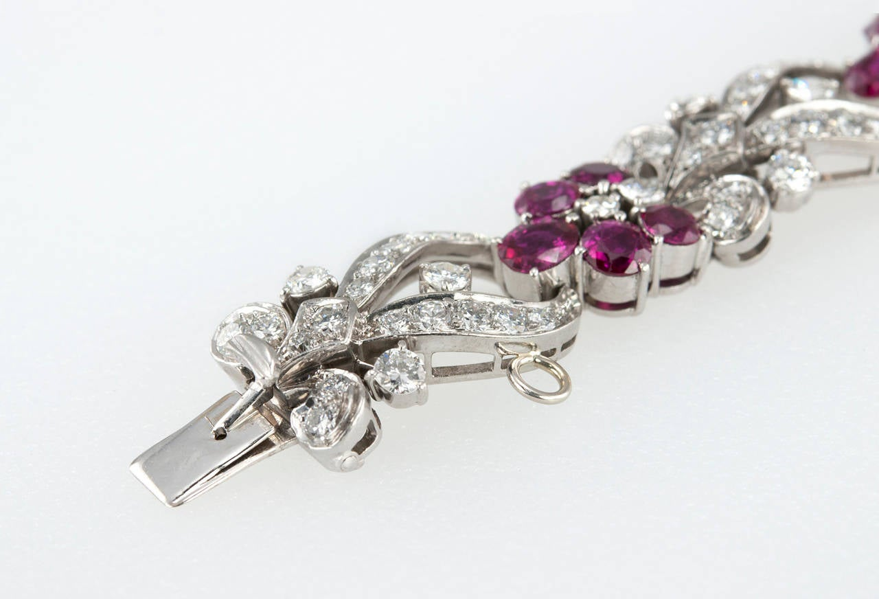 1940s Tiffany & Co. Ruby Diamond Palladium Floral Bracelet For Sale 2