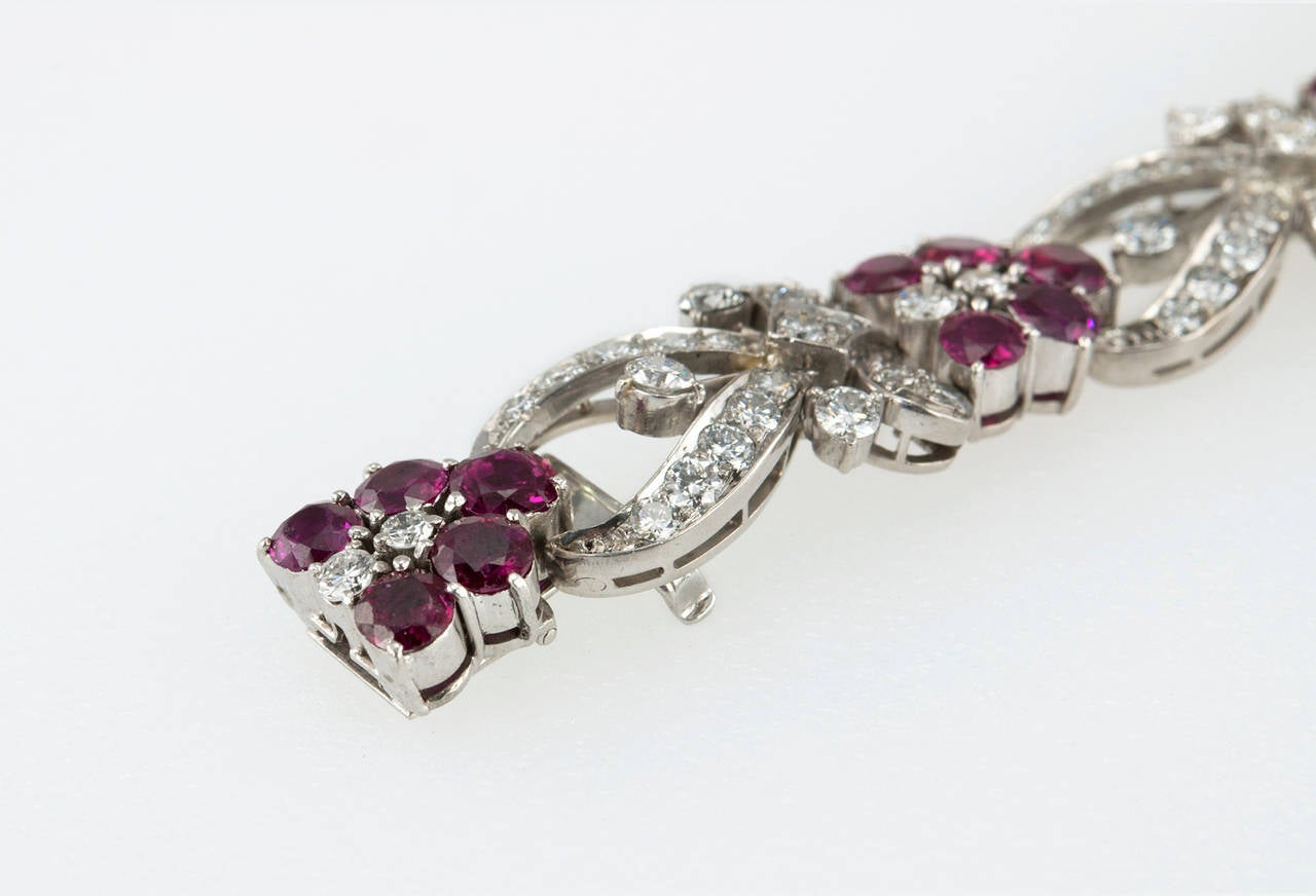 1940s Tiffany & Co. Ruby Diamond Palladium Floral Bracelet For Sale 3