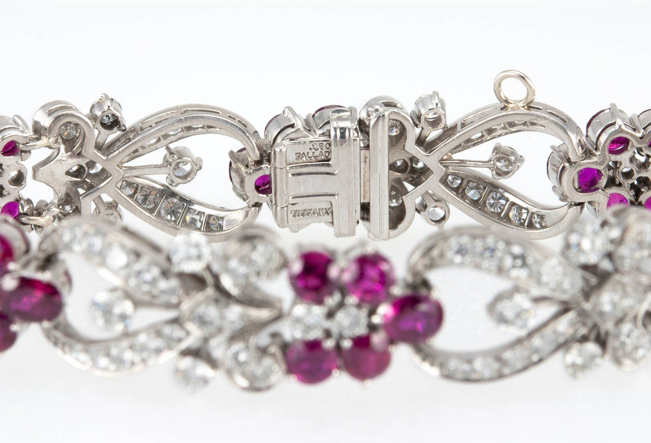1940s Tiffany & Co. Ruby Diamond Palladium Floral Bracelet For Sale 4